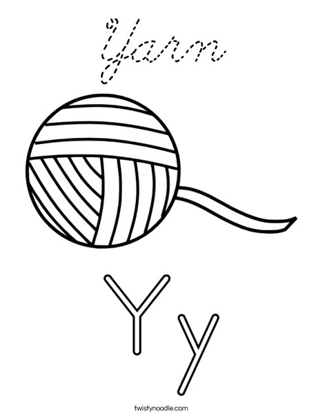 Yarn Coloring Page - Cursive - Twisty Noodle