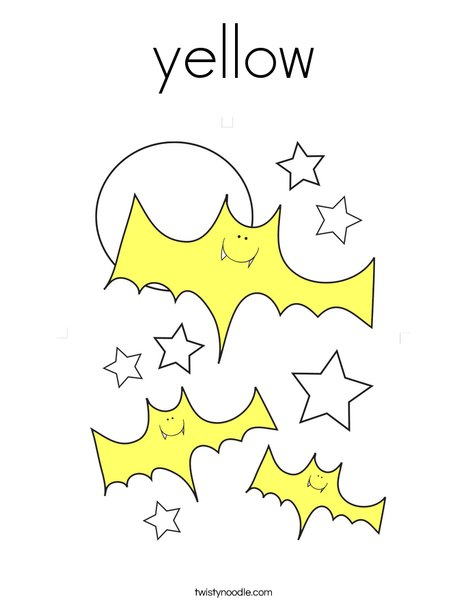 Yellow Bats Coloring Page