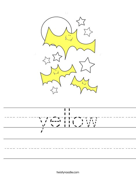 Yellow Bats Worksheet