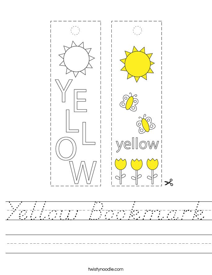 Yellow Bookmark Worksheet