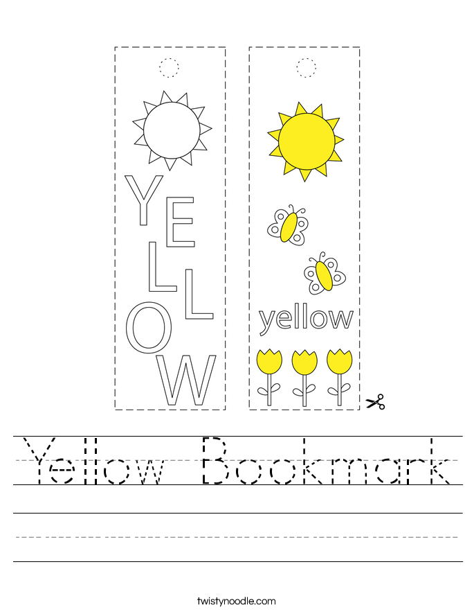 Yellow Bookmark Worksheet