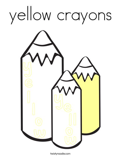 yellow crayons Coloring Page - Twisty Noodle