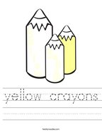 yellow crayons Handwriting Sheet