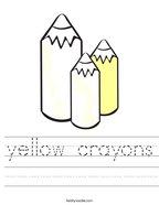 yellow crayons Handwriting Sheet