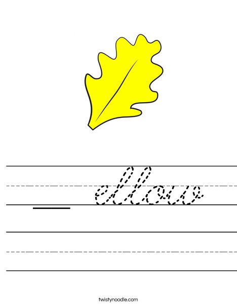 Yellow Fall Leaf Worksheet
