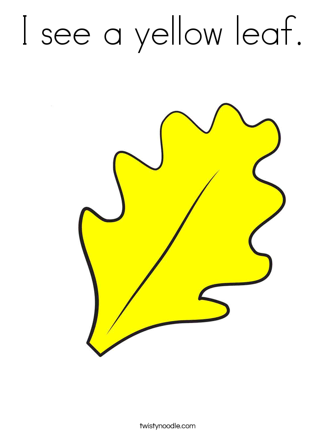 I see a yellow leaf.  Coloring Page