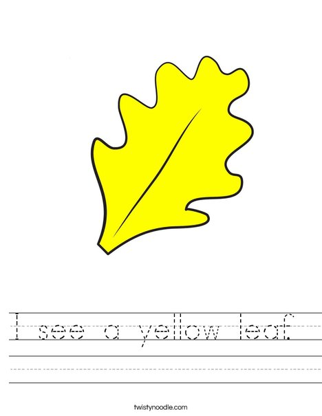 Yellow Fall Leaf Worksheet
