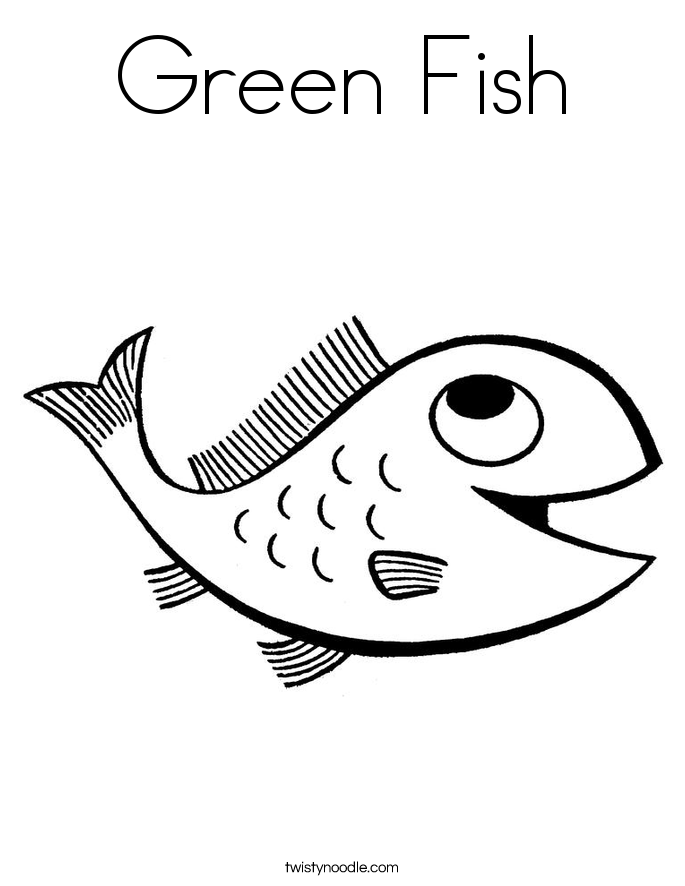 Green Fish Coloring Page
