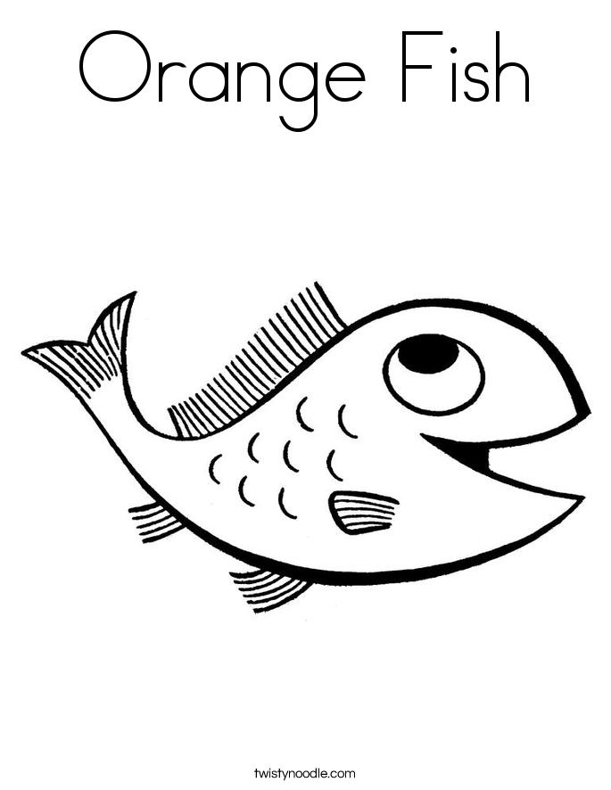 Orange Fish Coloring Page Twisty Noodle