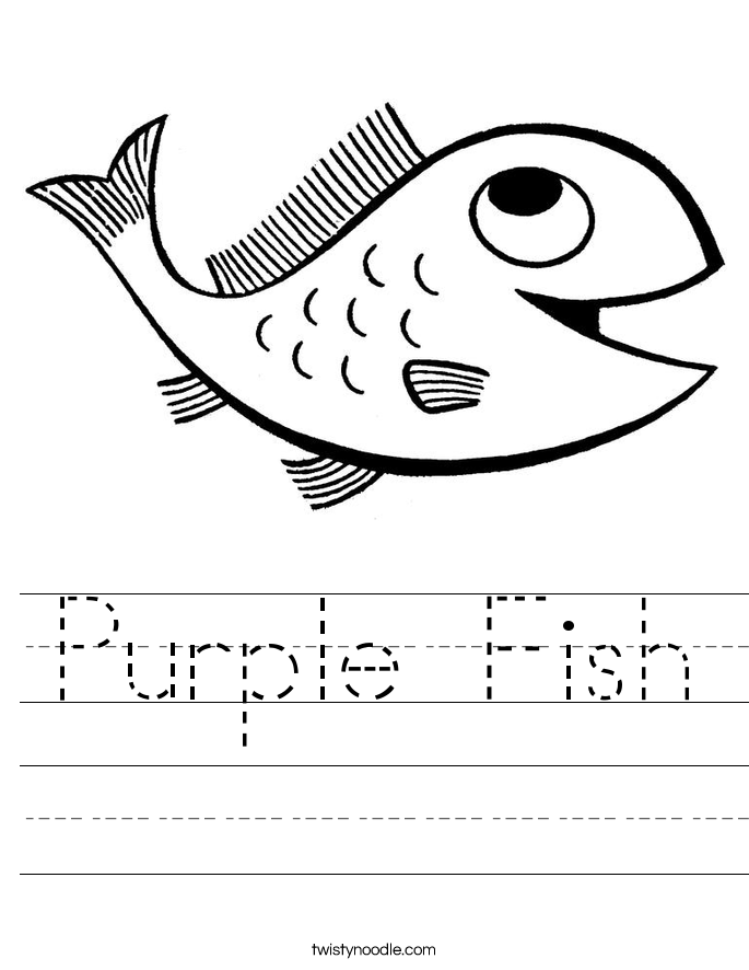 Purple Fish Worksheet - Twisty Noodle