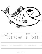 Yellow Fish Handwriting Sheet
