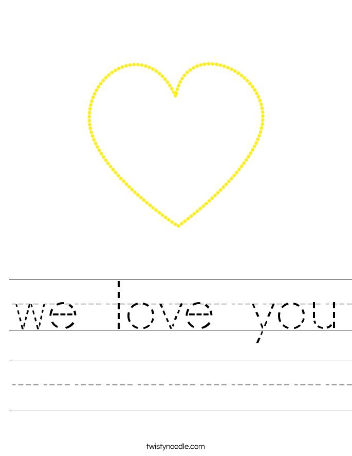 we love you Worksheet