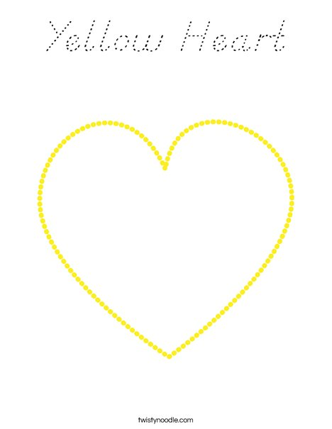 Yellow Heart Coloring Page