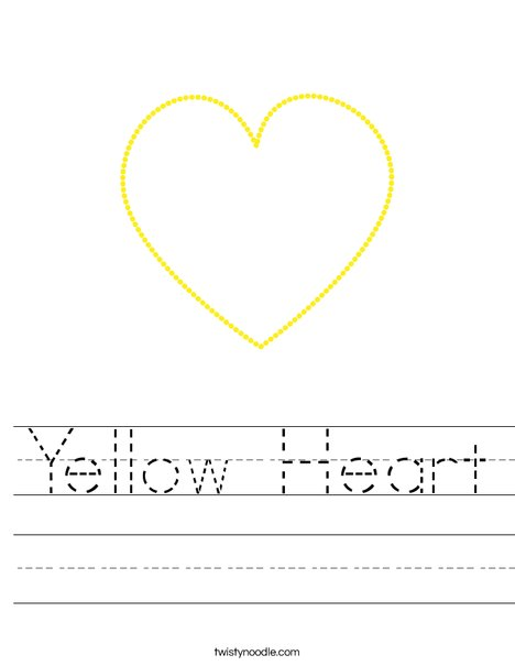 Yellow Heart Worksheet