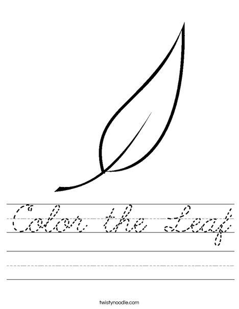 Color the Leaf Worksheet - Cursive - Twisty Noodle