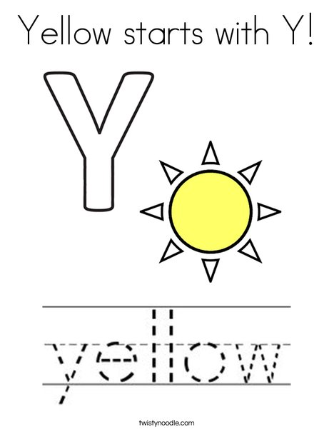 Yellow starts with Y! Coloring Page