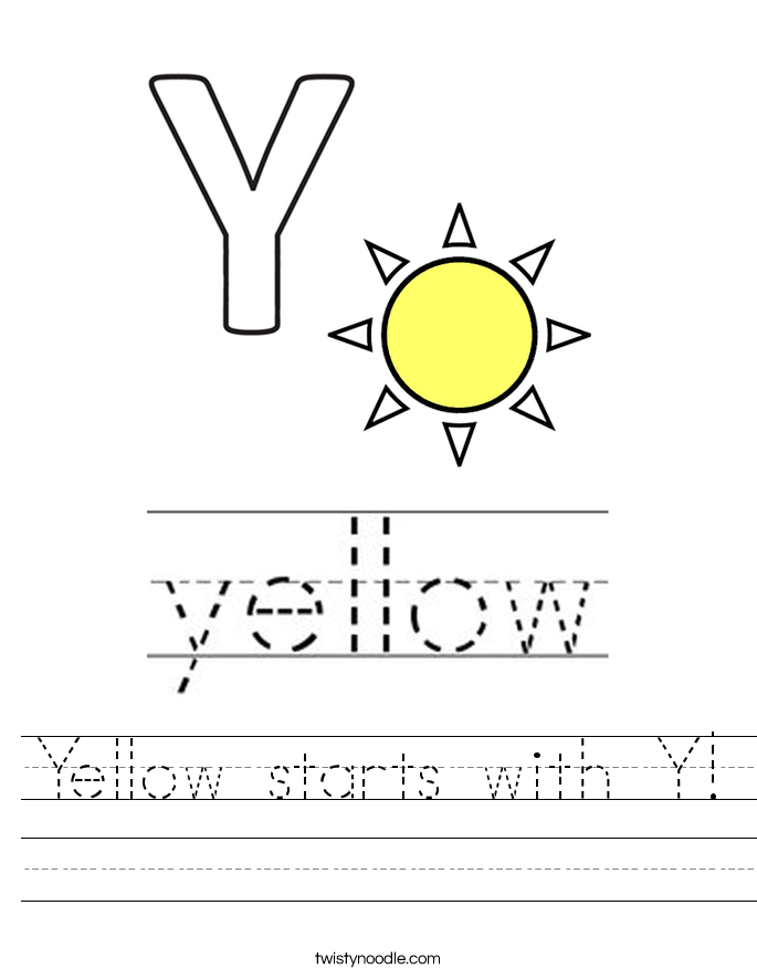 Yellow starts with Y! Worksheet