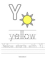 Yellow starts with Y Handwriting Sheet