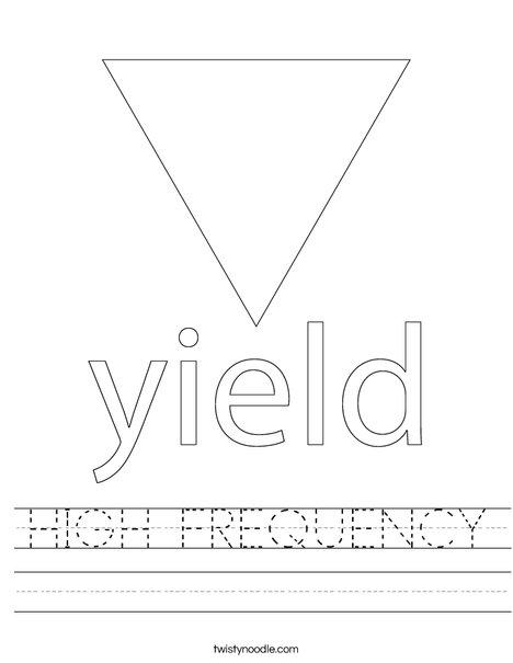 Yield Traffic Sign Worksheet