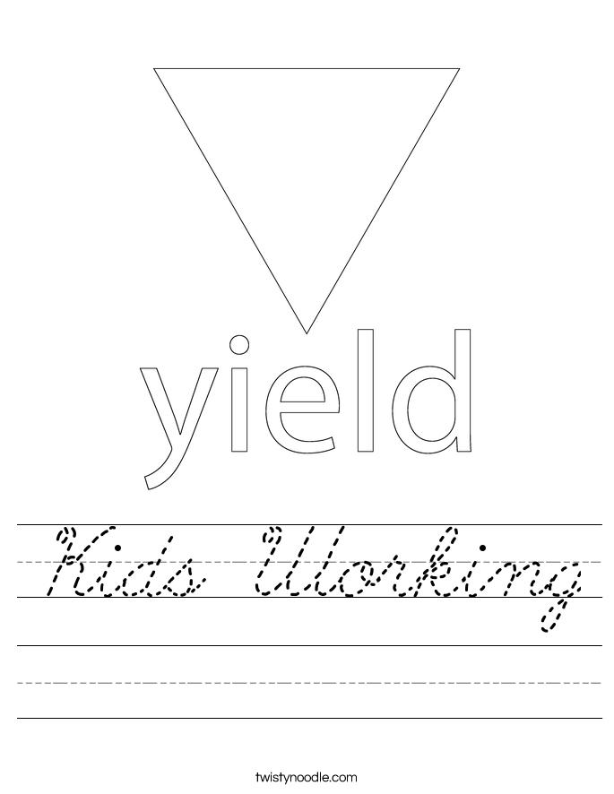Kids Working Worksheet