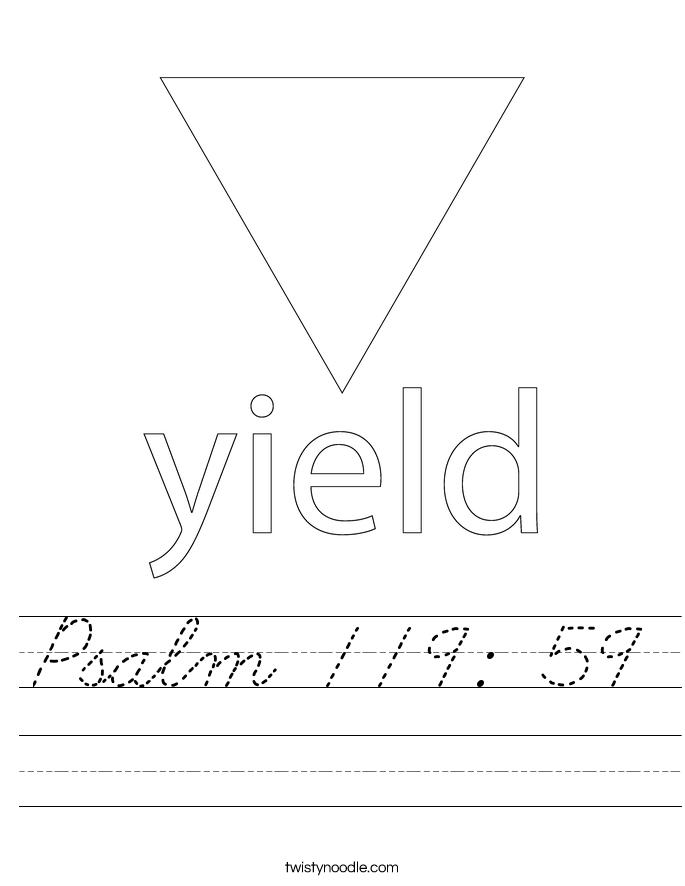 Psalm 119: 59 Worksheet