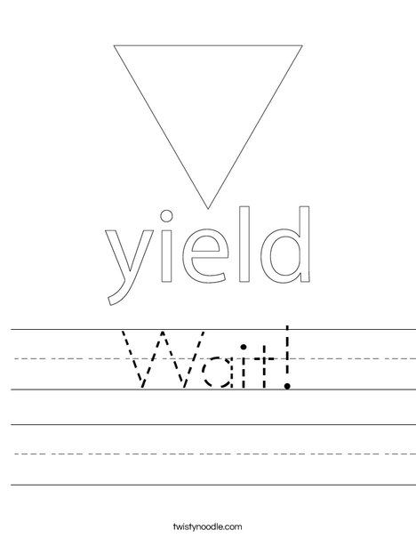 Yield Traffic Sign Worksheet