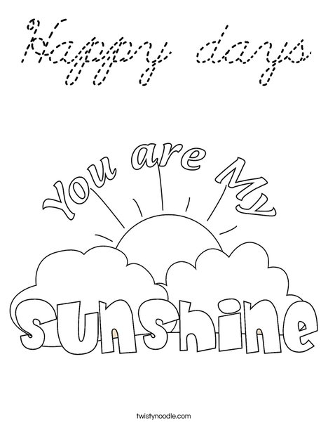 You Are My Sunshine by Trina Clark Coloring Page