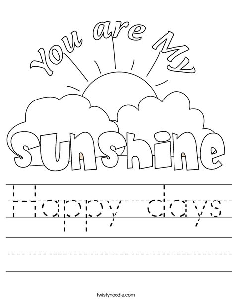 You Are My Sunshine by Trina Clark Worksheet