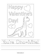 You're Dino-Mite Handwriting Sheet