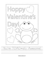 You're TOAD-ally Awesome Handwriting Sheet