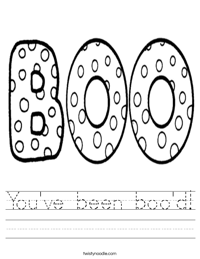 You've been boo'd! Worksheet