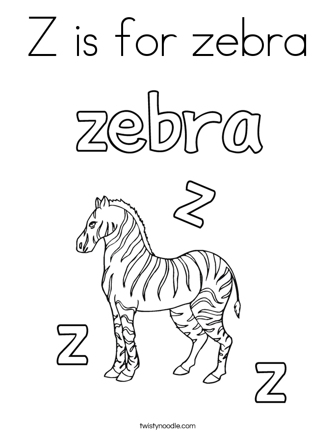 Z is for zebra coloring page twisty noodle for A to z animals coloring pages
