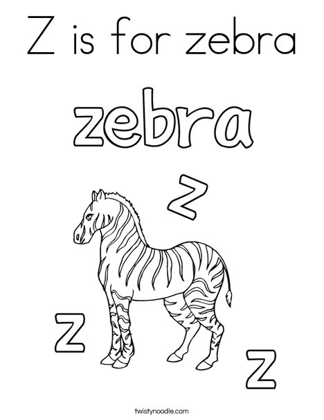 Z is for zebra Coloring Page