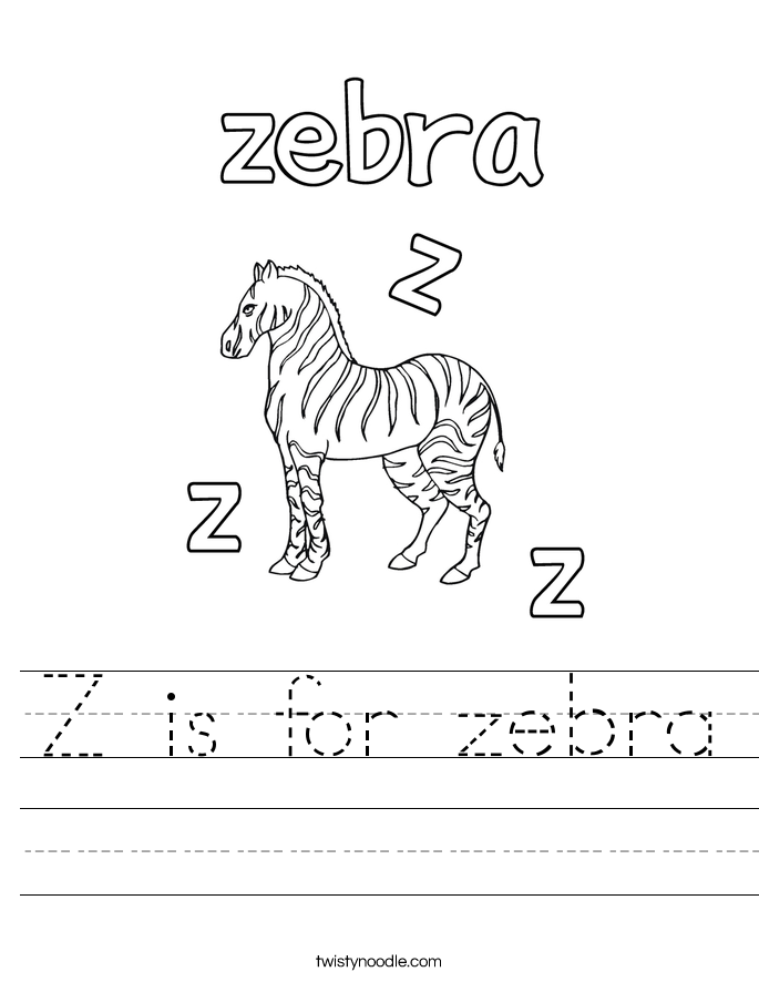 Z is for zebra Worksheet