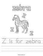Z is for zebra Handwriting Sheet