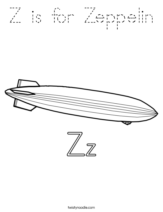 Z is for Zeppelin Coloring Page
