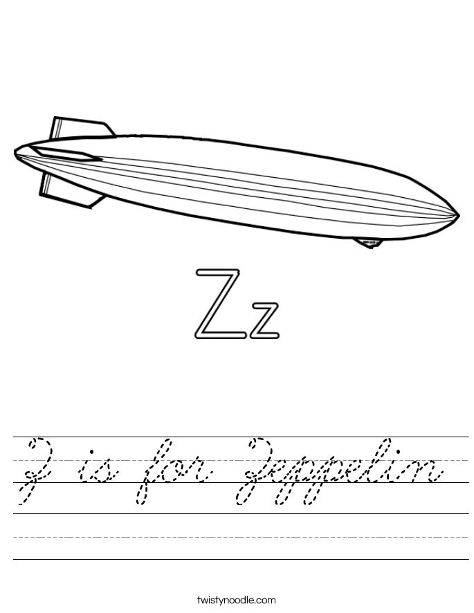 Z is for Zeppelin Worksheet