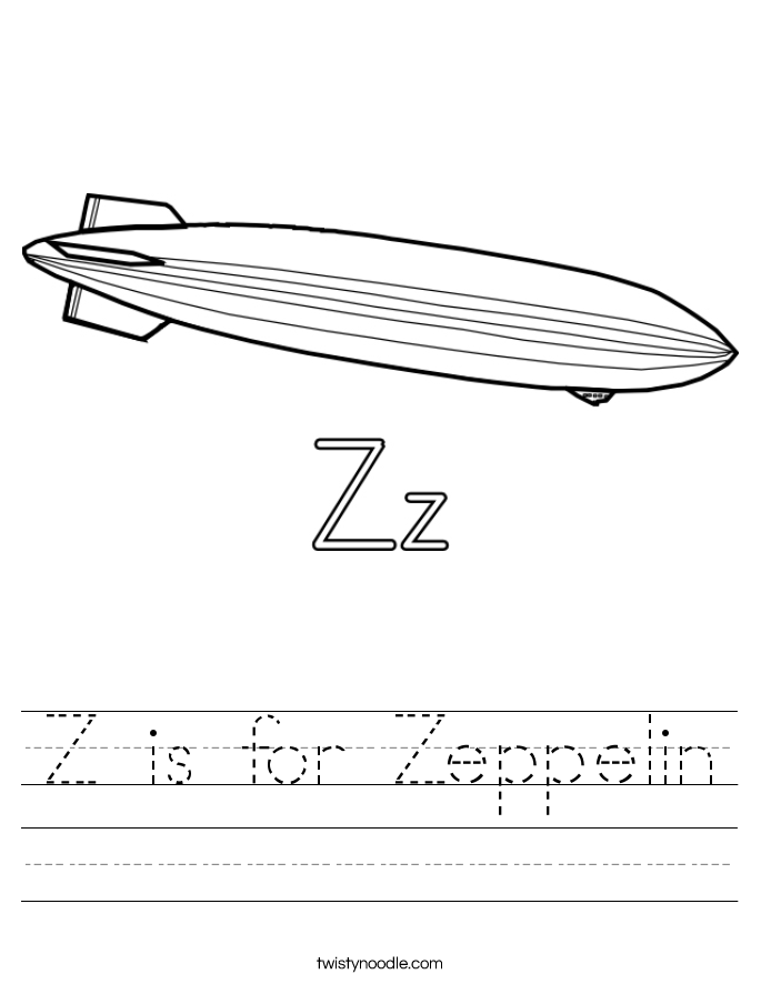 Z is for Zeppelin Worksheet