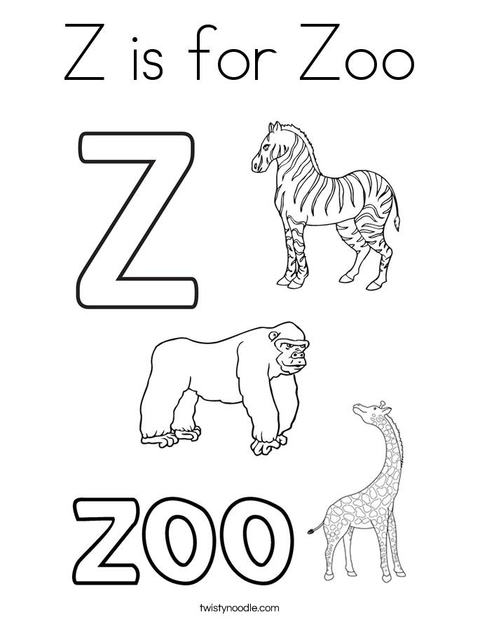 Z Is For Zoo Coloring Page Twisty Noodle A To Z Coloring Pages