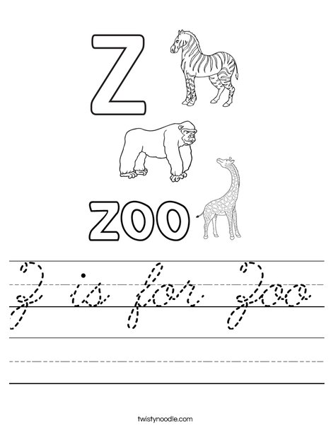 Z is for Zoo Worksheet