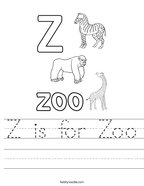 Z is for Zoo Handwriting Sheet
