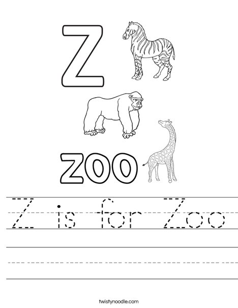 z is for zoo worksheet twisty noodle. Black Bedroom Furniture Sets. Home Design Ideas