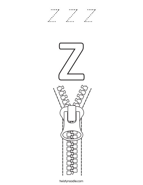 Z Zipper Coloring Page