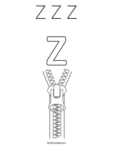 Z Zipper Coloring Page