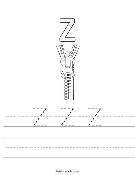 Z Zipper Worksheet