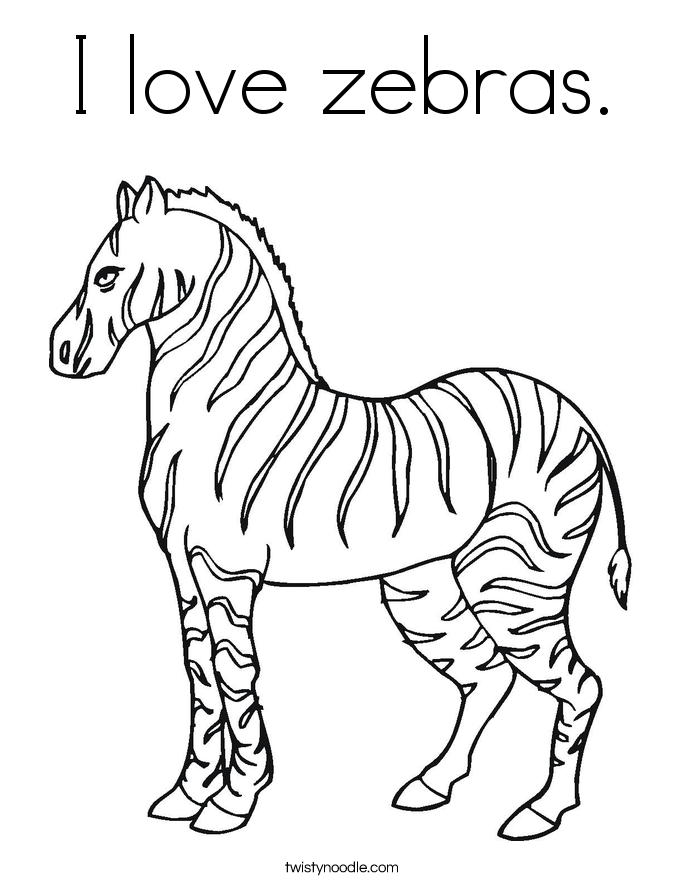 I love zebras. Coloring Page