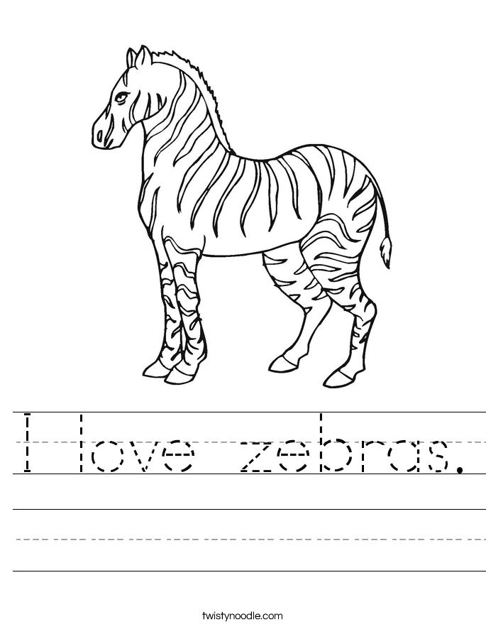 I love zebras. Worksheet