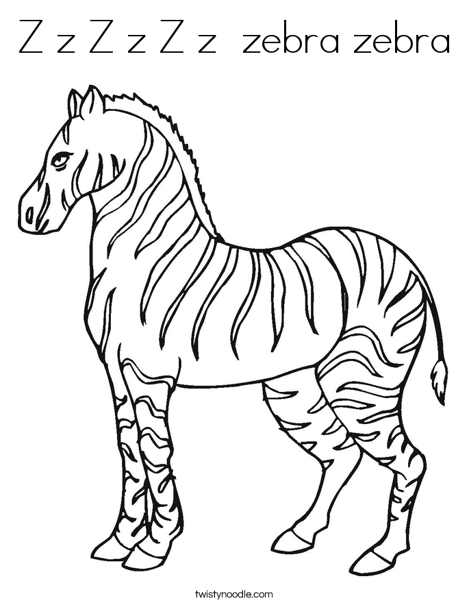 z is for zebra coloring pages - photo #9