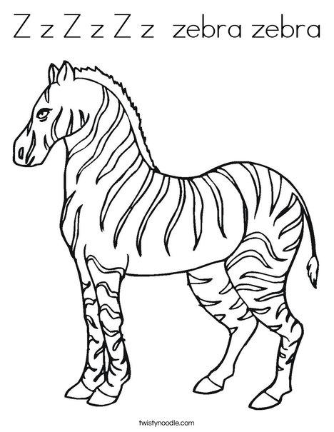 Z Zebra Coloring Page