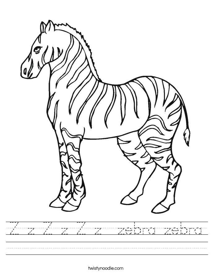 Z z Z z Z z zebra zebra Worksheet - Twisty Noodle